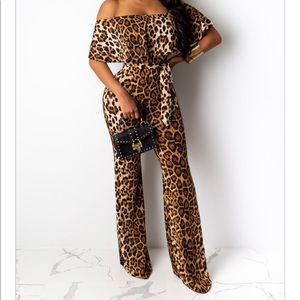 CHEETAH OFF THE SHOULDERS JUMPSUIT  - SZ SMALL